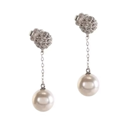 Picture of Nadri Chain Drop Pearl Earrings - Rhodium