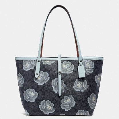 Picture of Coach Signature Rose Print Market Tote - Charcoal/Sky