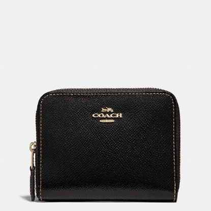 Picture of Coach Patent Leather Small Zip-Around Wallet - Black