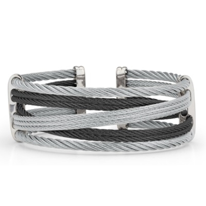 Picture of ALOR 18K White Gold Black/Grey Cable Bracelet