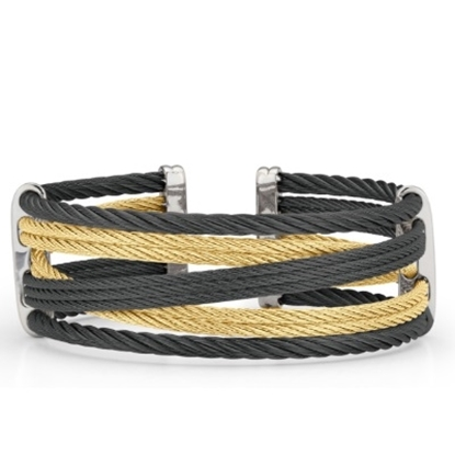 Picture of ALOR 18K White Gold Black/Yellow Cable Bracelet