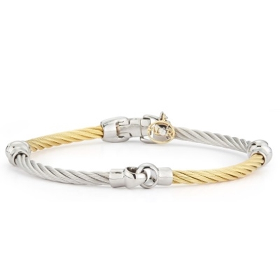 Picture of ALOR Classique 18K Yellow Gold Yellow/Grey Cable Bracelet