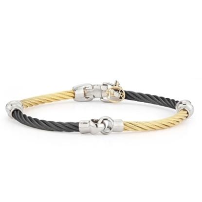 Picture of ALOR Noir 18K White Gold Black/Yellow Cable Bracelet