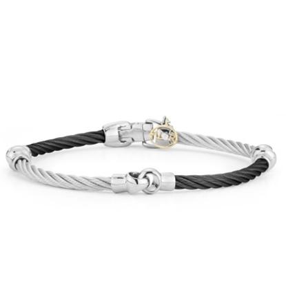 Picture of ALOR Noir 18K White Gold Black/Grey Cable Bracelet
