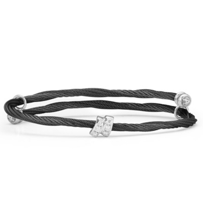 Picture of ALOR Noir 18K White Gold Black Cable Bangle with Diamonds