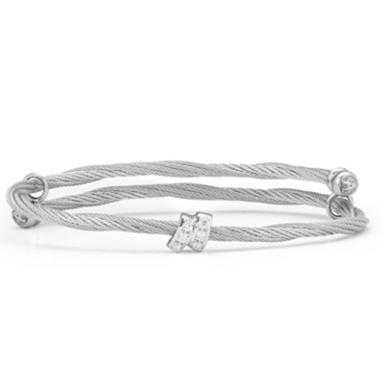Picture of ALOR Classique 18K White Gold Grey Cable Bangle with Diamonds