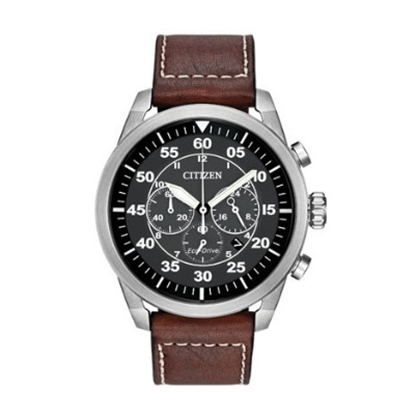 Picture of Citizen Men's Eco-Drive Avion with Black Dial & Brown Leather