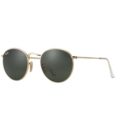 Picture of Ray-Ban® Round Gold Metal Sunglasses w/ Green Classic Lens