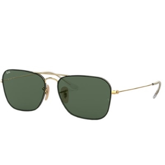 Picture of Ray-Ban® Double Bridge Square Sunglasses - Gold/Green Lens