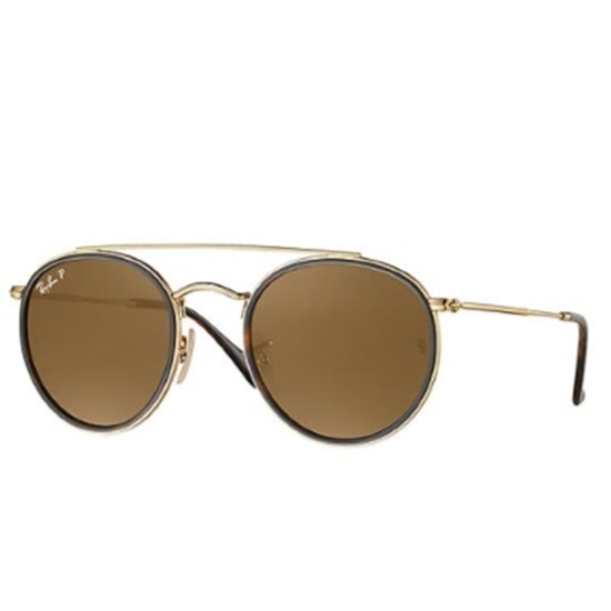 Picture of Ray-Ban Round Double Bridge Sunglasses - Gold/Brown Polarized