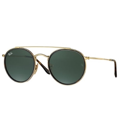 Picture of Ray-Ban Round Double Bridge Sunglasses - Gold Frame/Green Lens