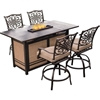Picture of Hanover Traditions 5-Piece High-Dining Bar Set in Tan with Fire Pit Bar Table