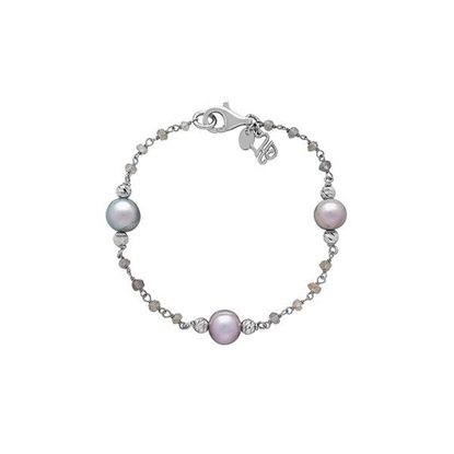 Picture of 8-9mm Gray Ringed Pearl Faceted Bracelet