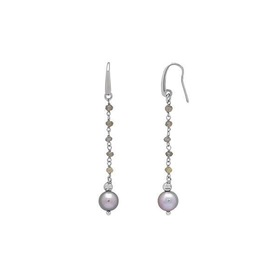 Picture of 8-9mm Gray Ringed Pearl Drop Earrings