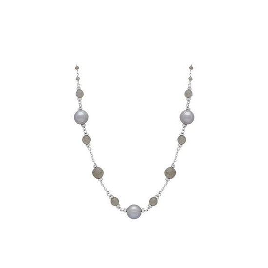 """Picture of 8-9mm Gray Ringed Pearl 18"""" Necklace"""