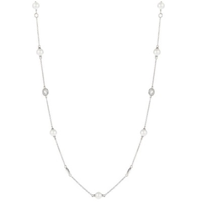 Picture of Nadri Bezel and Pearl Necklace - Rhodium