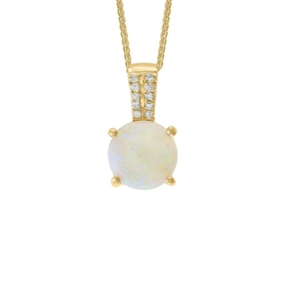 Picture of Lali 14K Yellow Gold Diamond/Opal Round Pendant Necklace