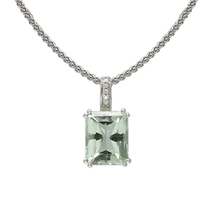 Picture of Lali 14K White Gold Diamond/Green Amethyst Pendant Necklace