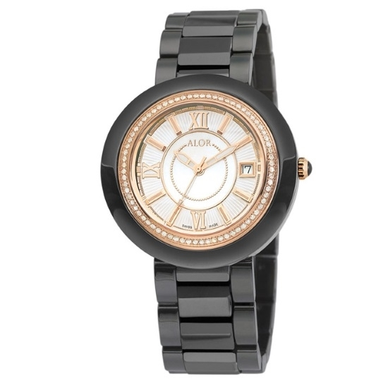Picture of ALOR 37mm Black Ceramic Watch with Diamonds