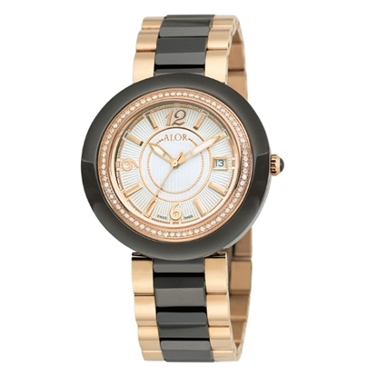 Picture of ALOR 43mm Black/Rose Ceramic Watch with Diamonds