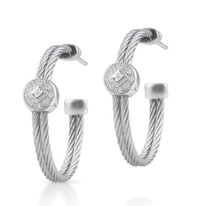 Picture of ALOR 18K White Gold, Steel Cable Hoop Earrings with Diamonds