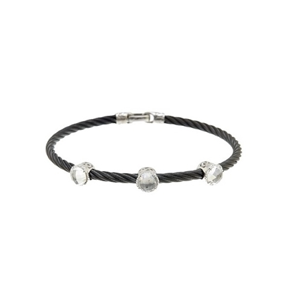 Picture of ALOR 18K White Gold, White Topaz, Black Steel Cable Bracelet