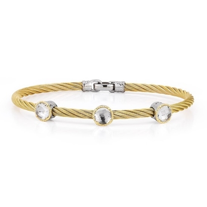 Picture of ALOR 18K Yellow Gold, White Topaz, Gold-Tone Cable Bracelet