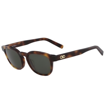 Picture of Salvatore Ferragamo Double Gancino Square Sunglasses - Havana
