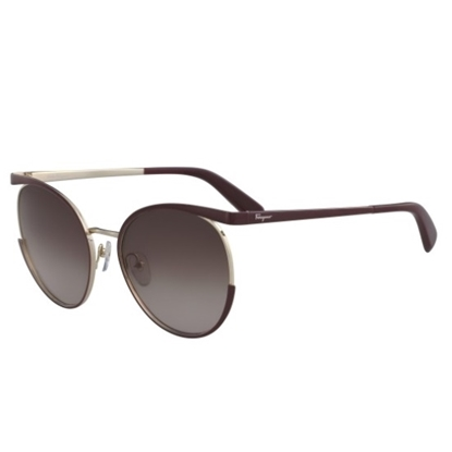 Picture of Salvatore Ferragamo Cutout Cat-Eye Sunglasses - Bordeaux/Gold