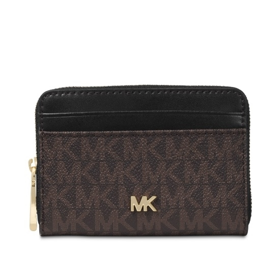 0b650f89 Picture of Michael Kors Signature Zip-Around Coin Card Case - Brown/Black