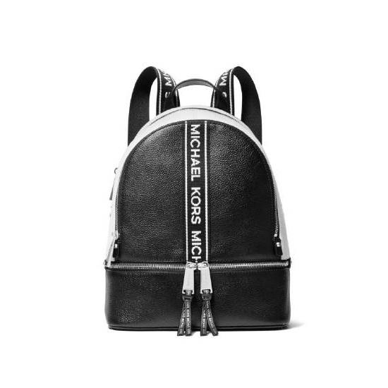 Picture of Michael Kors Rhea Medium Backpack- Black Optic White Web Strap 90b70fea91ccc