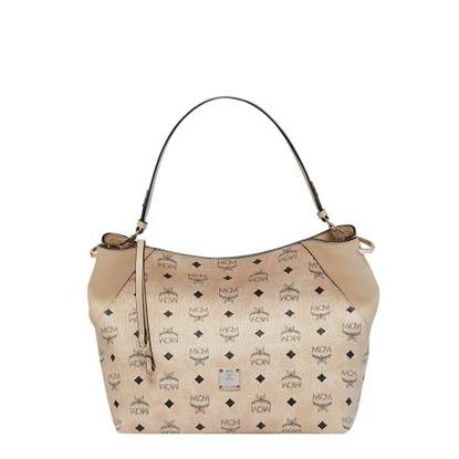 Picture of MCM Klara Medium Hobo - Beige Visetos