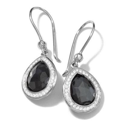 Picture of Ippolita Lollipop Mini Teardrop Diamond Earrings - Hematite