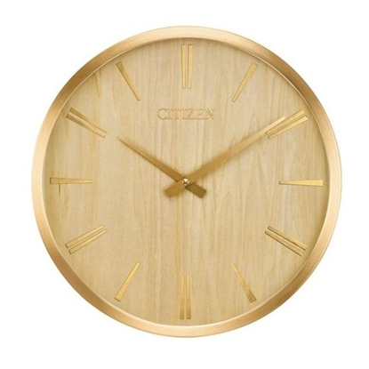 Picture of Citizen Gallery Circle Wall Clock - Gold-Tone & Wood