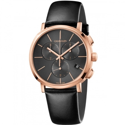 Picture of Calvin Klein Black Leather Strap Chrono Watch with Black Dial