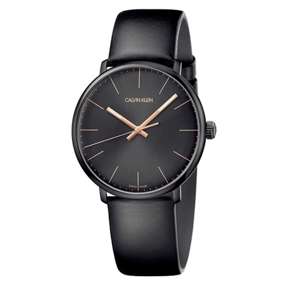 Picture of Calvin Klein Men's High Noon Black Leather Strap Watch