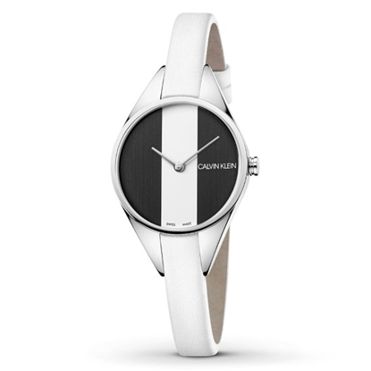 Picture of Calvin Klein Lady Rebel Black/White Leather Strap Watch
