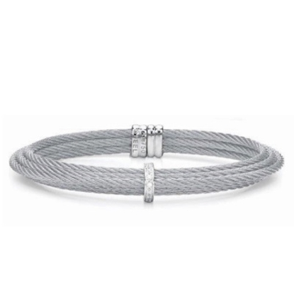 Picture of ALOR Classique Steel Cable Bracelet with Diamonds
