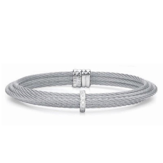 Picture of ALOR Classique Steel Cable Bracelet with Diamonds