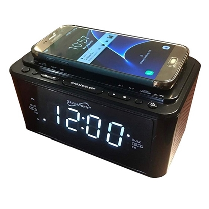 Picture of Supersonic Clock Radio/Qi Wireless Charging Station - Black