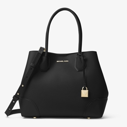 Picture of Michael Kors Mercer Corner Medium Center Zip Tote - Black