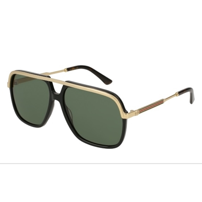 Picture of Gucci Black/Gold Navigator Sunglasses with Green Lens