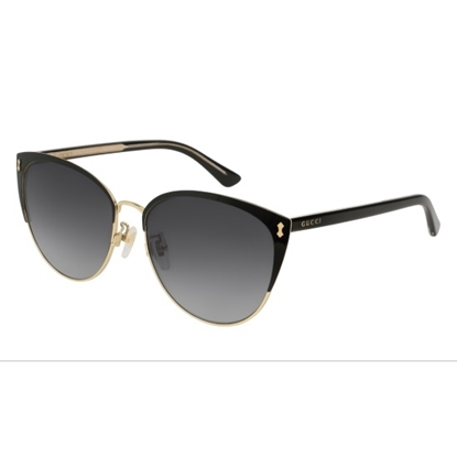 12f7718debd Gucci Black Gold Cateye Sunglasses with Grey Lens