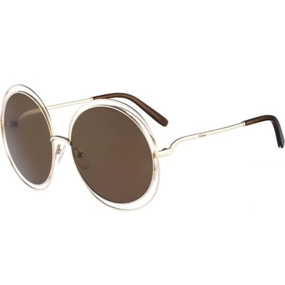 a595ade3149 Chloe Carlina Round Sunglasses - Gold Brown