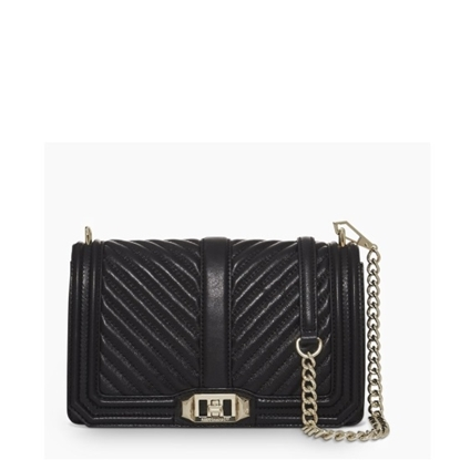 Picture of Rebecca Minkoff Chevron Quilted Love Crossbody - Black/Gold