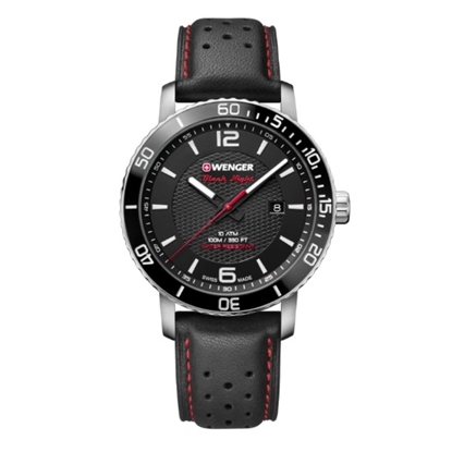 Picture of Wenger Roadster Watch with Black Dial and Black Leather Strap