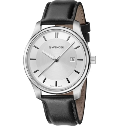 Picture of Wenger City Classic Large Watch - Metallic Dial/Black Leather