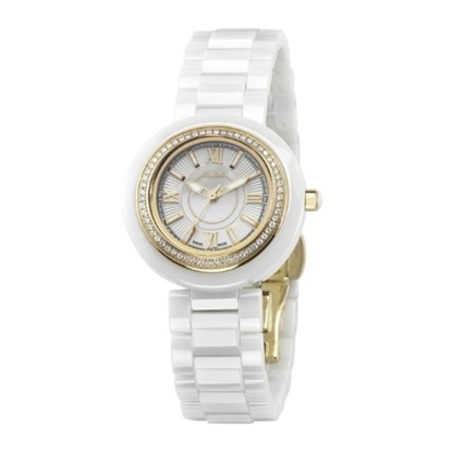Picture of ALOR 32mm Watch with White Ceramic/Yellow PVD Bezel & Diamonds