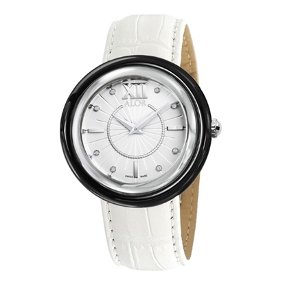 Picture of ALOR 42mm Watch with Black PVD Bezel and Leather Strap