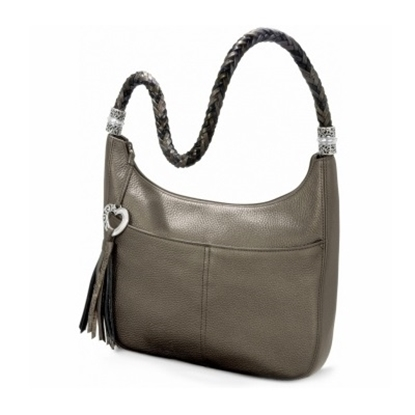 Picture of Brighton Barbados Ziptop Hobo - Pewter